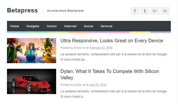 BetaPress is an AMP blogspot template having a 3 column footer and social share buttons.