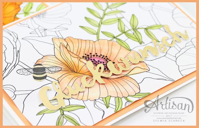 Glückwunsch Karte mit Stampin up Designerpapier Kreativ koloriert