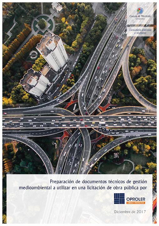 Portada del contrato por el que Cuevas y Montoto Consultores ayudará a Oproler a elaborar la documentación técnica de gestión medioambiental exigida en una licitación de obra pública en España.