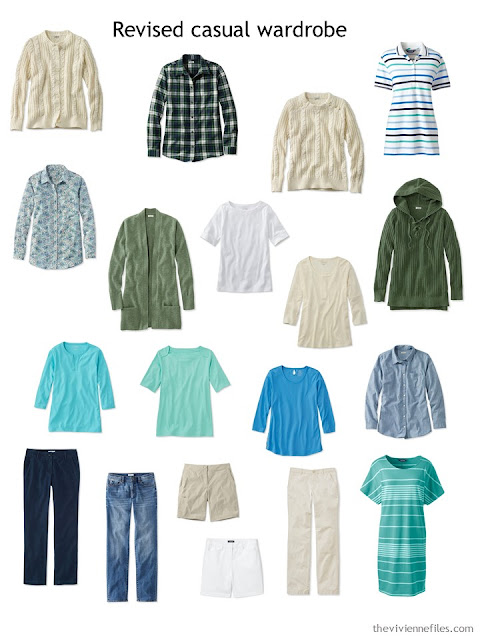casual wardrobe in beige and cool green with blue and green accents