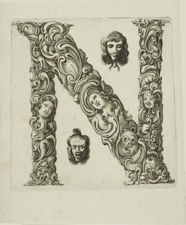 17th century engraving of floral letterform - letter 'n'