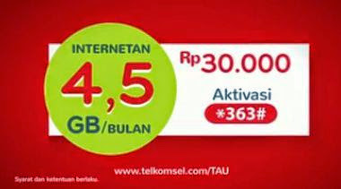 Paket Internet Android Telkomsel 4,5GB Hanya 30 Ribu