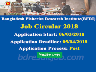 Bangladesh Fisheries Research Institute (BFRI) Job Circular 2018