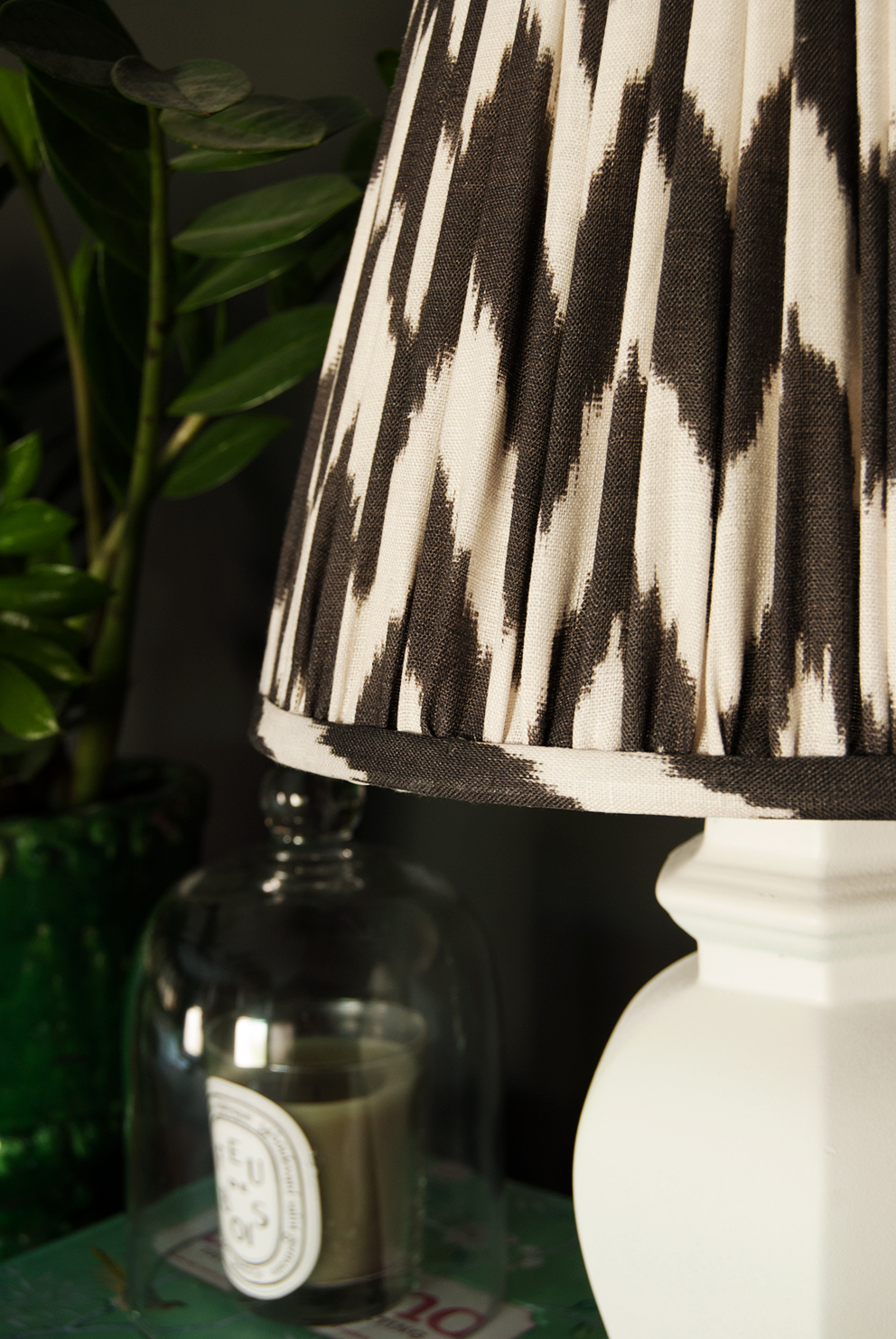Ikat lampshades from Pooky on vintage ebay bases (sprayed white). A great way to save money so you can spend more on the lampshades or vice versa!