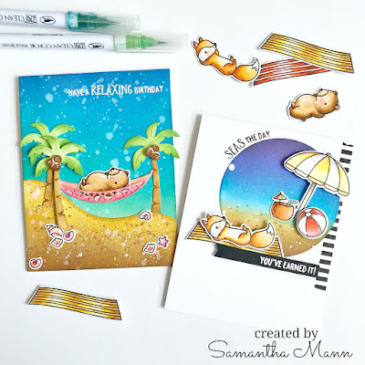 Seas the Day Beach Cards by Samantha Mann, Two Many Cards Video Series, Lawn Fawn, Die Cuts, Distress Inks, Ink Blending, Video, Youtube #youtube #video #distressinks #inkblending #lawnfawn #beach #cards