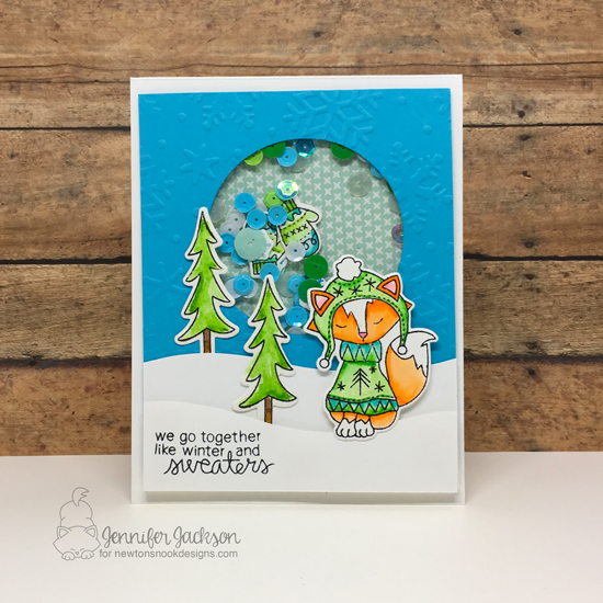 Deck the Halls with Inky Paws Blog Hop! Shaker cards by Jennifer Jackson | Sweater Weather Stamp set by Newton's Nook Designs #newtonsnook
