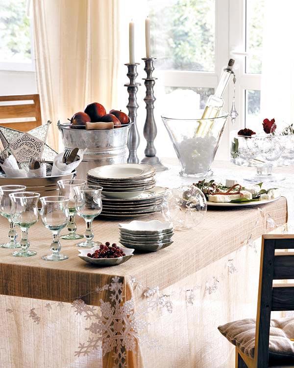 mesa de comida de natal