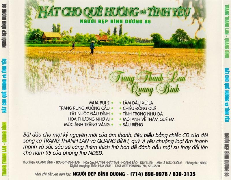 Người Đẹp Bình Dương CD086 - Trang Thanh Lan, Quang Bình - Hát Cho Quê Hương Và Tình Yêu (NRG) + bìa...