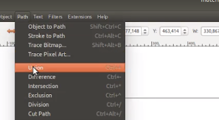 Menu Union Path di menu bar Inkscape