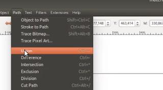 Menu Union Path di menu bar Inkscape