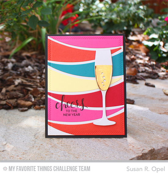 Handmade card from Susan R. Opel featuring Hand Lettered Holiday stamp set, and Layered Champagne Glass and Blueprints 25 Die-namics #mftstamps