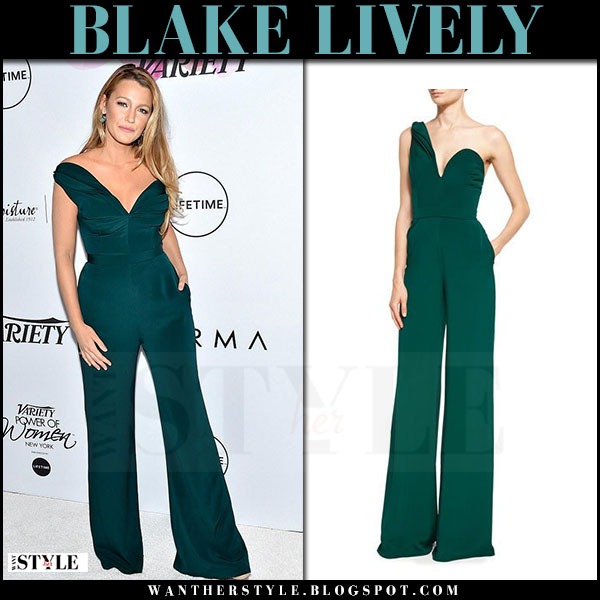 Blake Lively in green one shoulder jumpsuit brandon maxwell red carpet what she wore april 2017