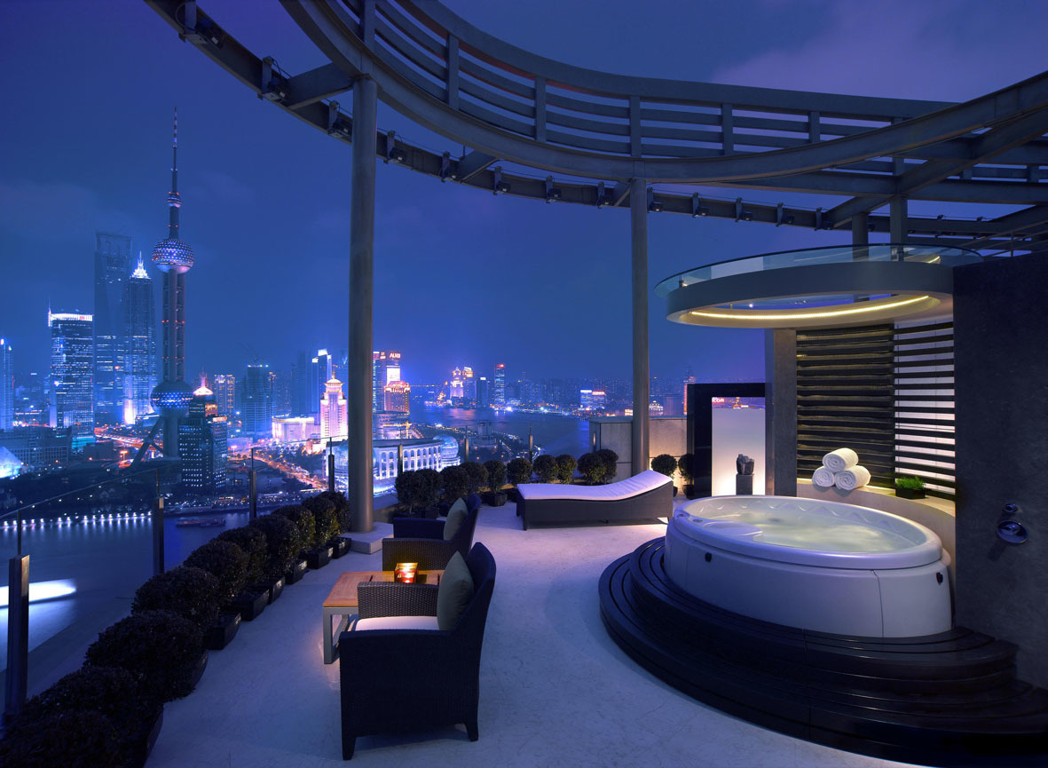 The World's 30 Best Rooftop Bars… Everyone Should Drink At #9 At Least Once. - The Vue Bar sits on two levels of the Hyatt hotel in Shanghai, China.