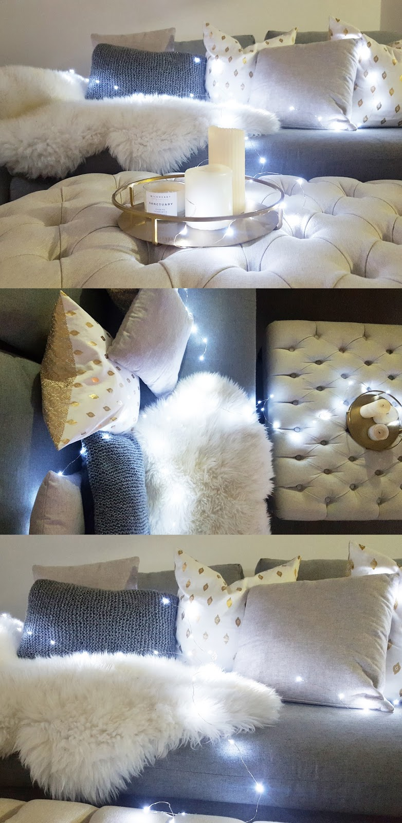 fairylights on sofa