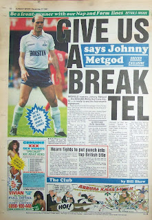 Back page of a vintage Sunday Sport newspaper from 27th November 1987