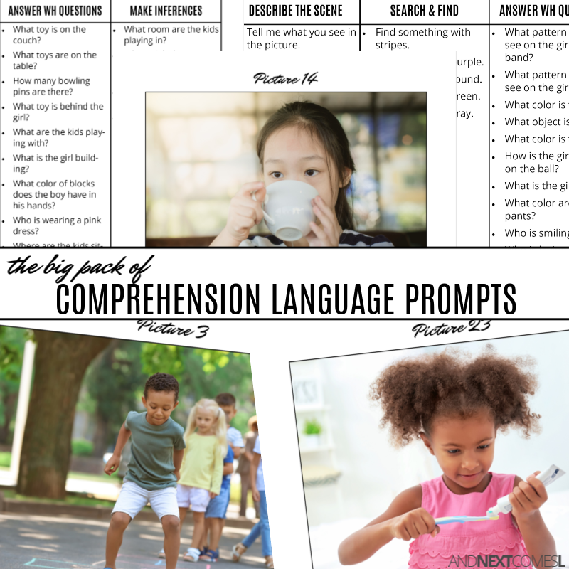 Printable speech therapy comprehension language prompts