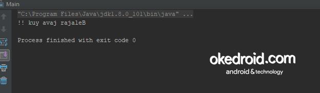 Output Hasil Contoh Program Membalikan Kata di Program Java