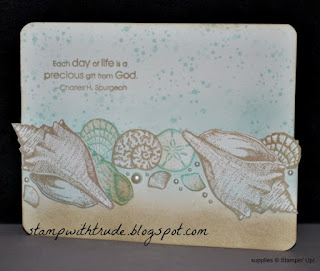 stampwithtrude.blogspot.com , Stampin' Up!, stipple shells birthday card, Throwback Thursday, refuge and strength stamp set