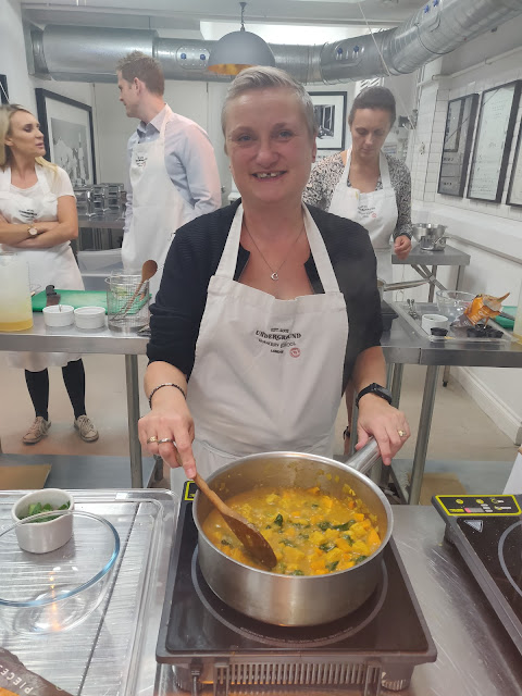 madmumof7 at Quorn cook along at Underground Cookery School,London