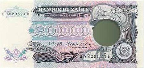 Uang Modifikasi karena Kudeta dari Zaire