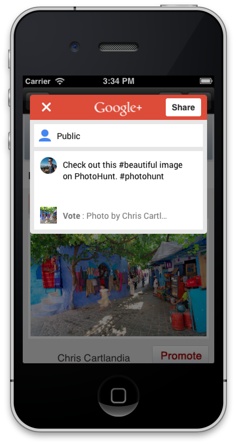 iOS Google+ app update in-app delen