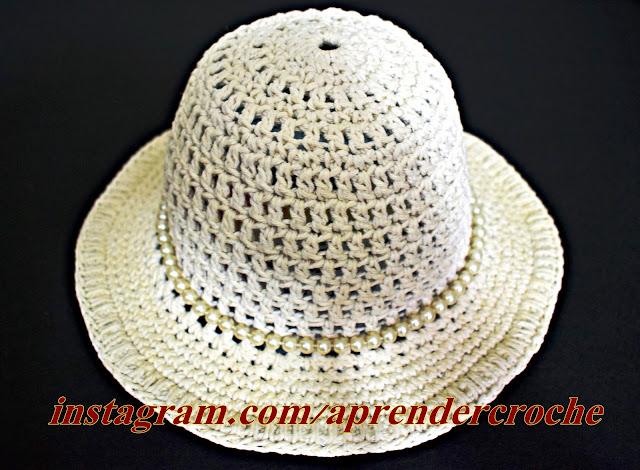 chapéu de crochê endurecido aprender croche moda croche verão curso de croche edinir-croche facebook