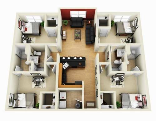 Denah Rumah 4 Kamar Tidur 3D Sederhana 1 Lantai