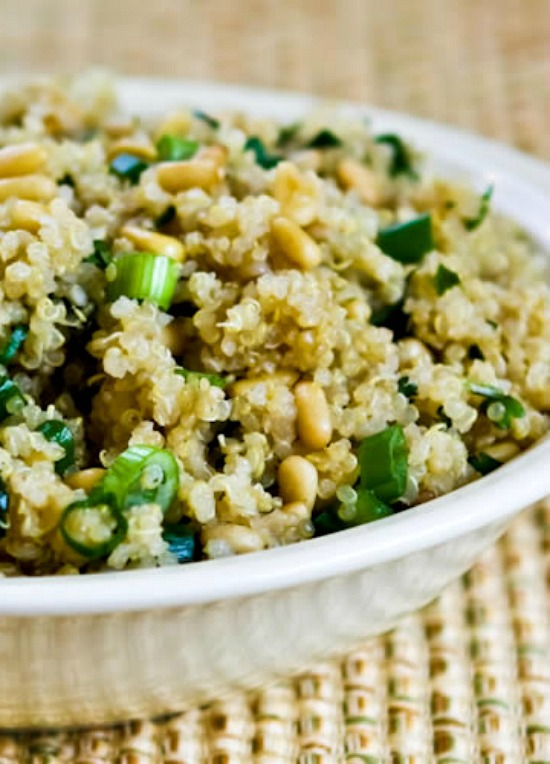 Quinoa Side Dish Recipe with Pine Nuts, Green Onions, and Cilantro (Gluten-Free, Vegan)