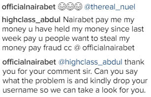 Between Nairabet and an angry customer on Instagram...