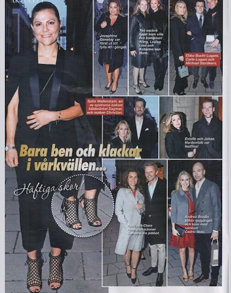 Crown Princess Victoria and Princess Madeleine attended the 40th birthday party of Caroline Dinkelspiel one of the Crown Princess's closest friends in Östermalm.