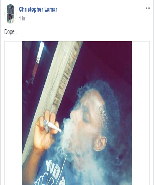 Facebook Slay King Runs Mad after Posting Picture of him Smoking Ikong Ekpo (Weed)