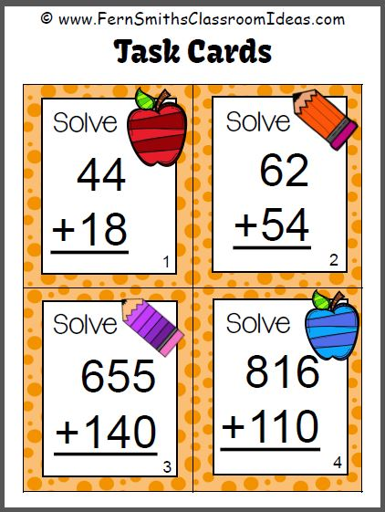 Fern's Freebie Friday ~ FREE Addition of Multi-Digit Whole Numbers Within 1000 Sample Task Cards