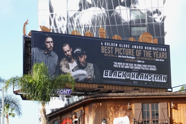 BlacKkKlansman Golden Globe nominee billboard