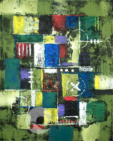 lukisan abstrak hijau
