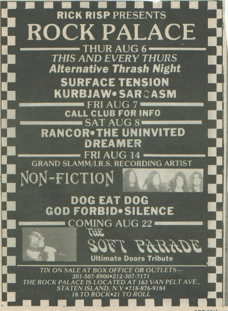 The Rock Palace rock club advertiesment