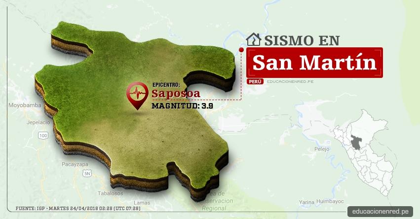 Temblor en San Martín de magnitud 3.9 (Hoy Martes 24 Abril 2018) Sismo EPICENTRO Saposoa - Huallaga - IGP - www.igp.gob.pe