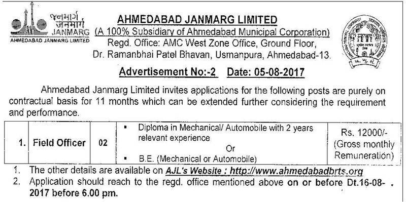 Ahmedabad Janmarg Limited Recruitment 2017 for Field Officer Posts