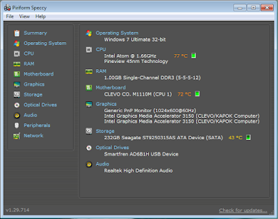 Cek Seri Windows Dengan Speccy