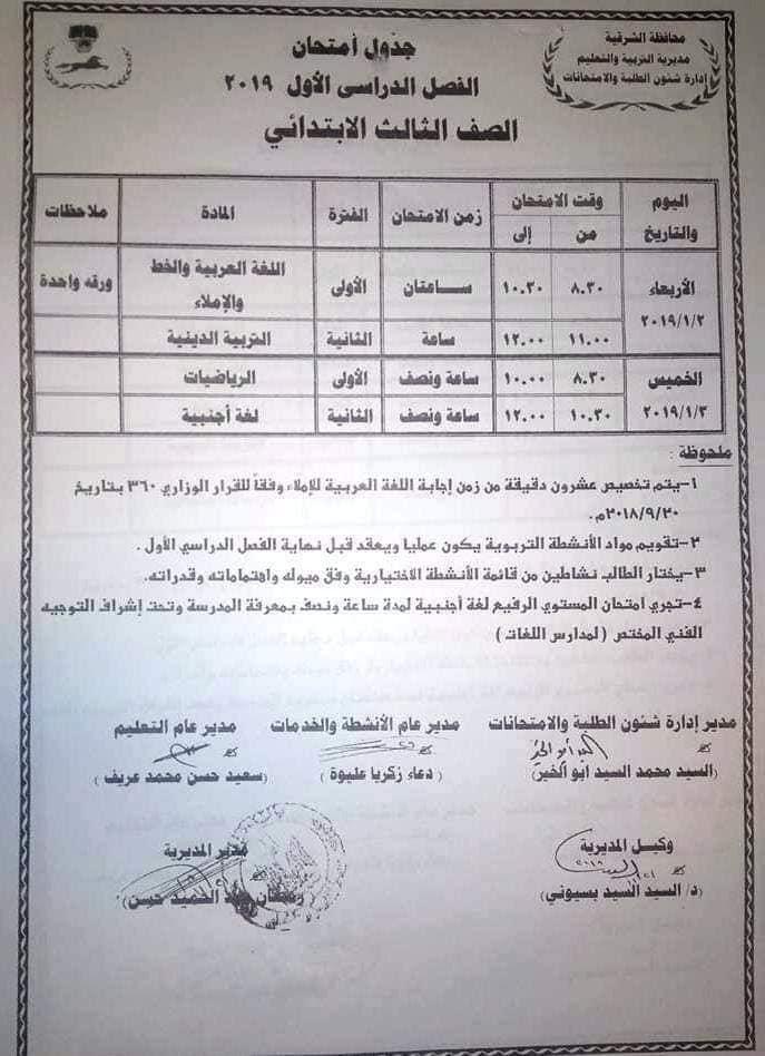 جدول امتحانات الصف الثالث الابتدائي 2019 محافظة الشرقية