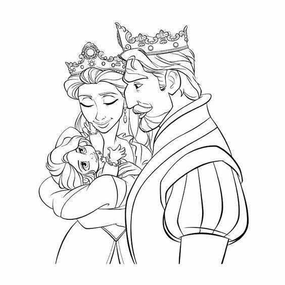 Tranh tô màu nàng công chúa tóc mây lúc bé