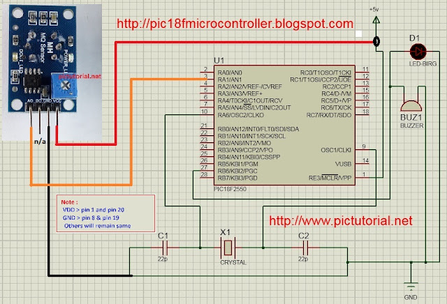 LPG Gas Leakage Detector using (MQ-9)  Gas Sensor and pic18f2550 Microcontroller
