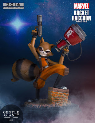 San Diego Comic-Con 2016 Exclusive Rocket Raccoon Marvel Animated Statue by Skottie Young x Gentle Giant