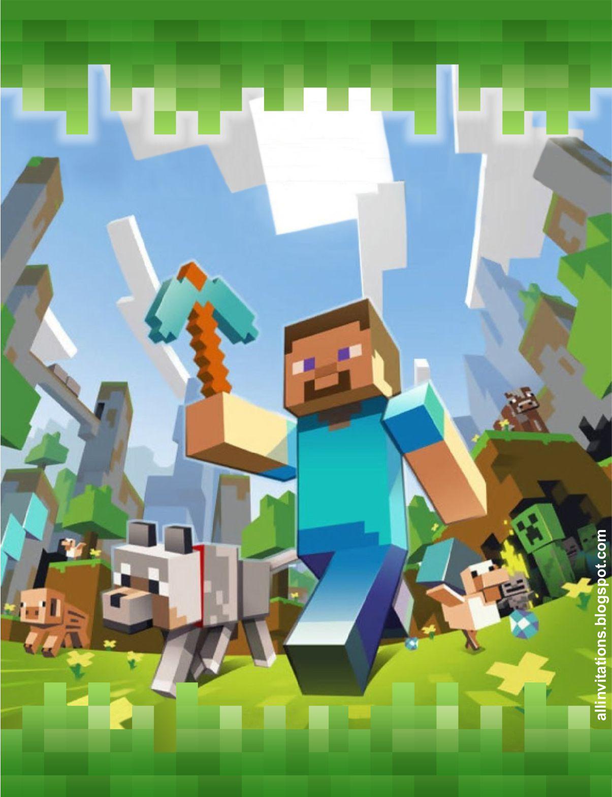 All Invitations Invitacion Con El Tema Minecraft