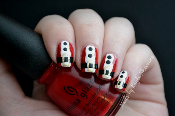 Santa Suit Nail Art Nails by Kayla Shevonne