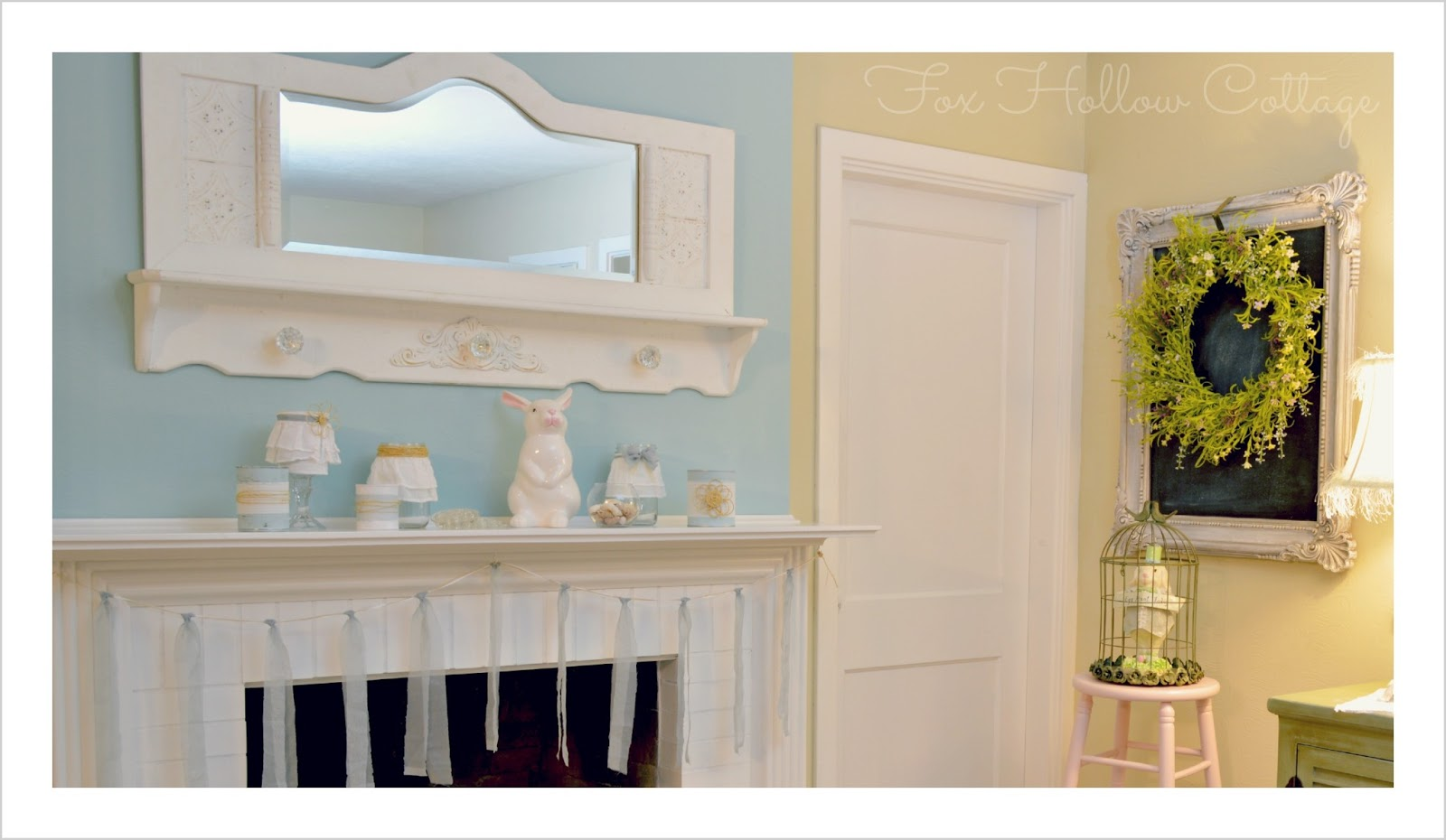 simple cottage spring easter mantel home decorating