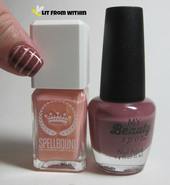 Bottle shot:  SpellBound Aura and nameless My Beauty Spot polish.