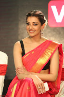 Kajal Aggarwal in Red Saree Sleeveless Black Blouse Choli at Santosham awards 2017 curtain raiser press meet 02.08.2017 083.JPG