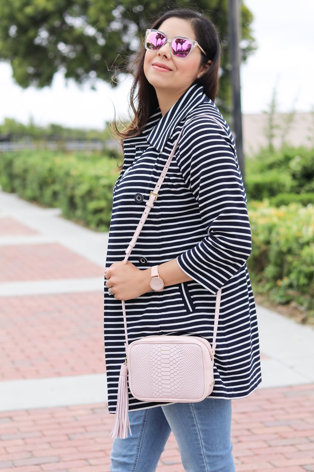 Navy blue and white stripe trench, gigi new york blush pink crossbody