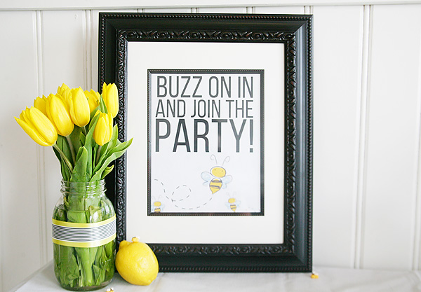 Bee party decor and free printables.
