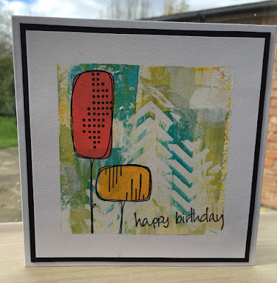 A wonderful faux print look card from Claire Snowdon